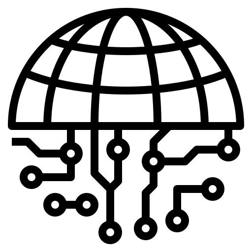 Icon of a globe with nodes representing global reach