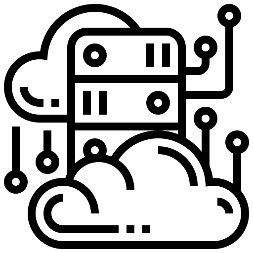 Icon of a server and clouds, representing Cloud Migration