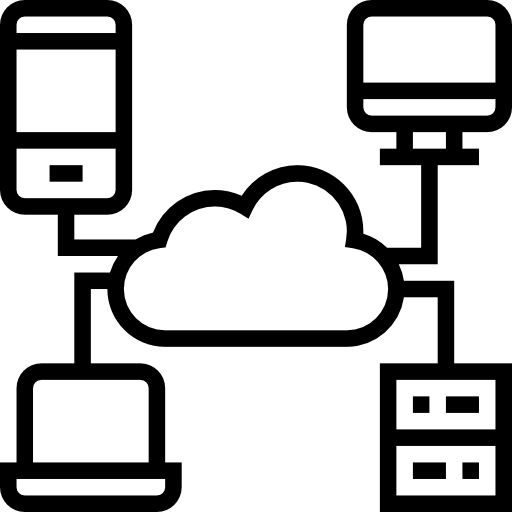 Icon of a cloud and four devices, representing Continuous Integration