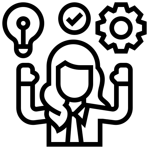 Icon of a person, a gear and a light bulb representing data-driven decisions