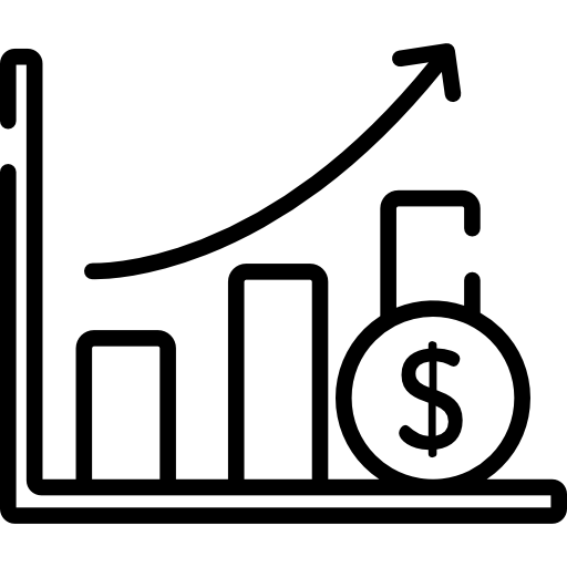 Icon of an increasing chart representing grow of demand