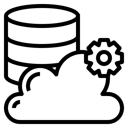 Icon of a database and a cloud, representing Managed Cloud
