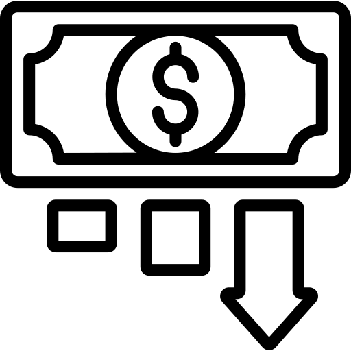 Icon of a banknote with down arrow representing reducing operational costs