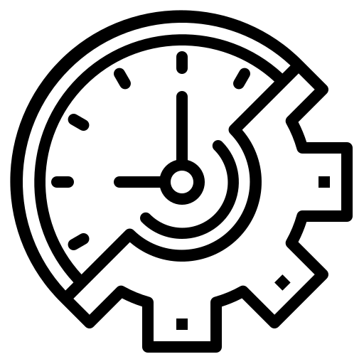 Icon of a speedometer and gear representing technical debt
