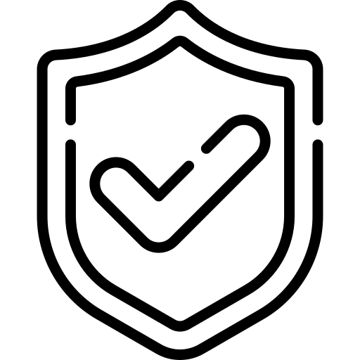 Icon of a tick sign and a shield representing Security & Compliance