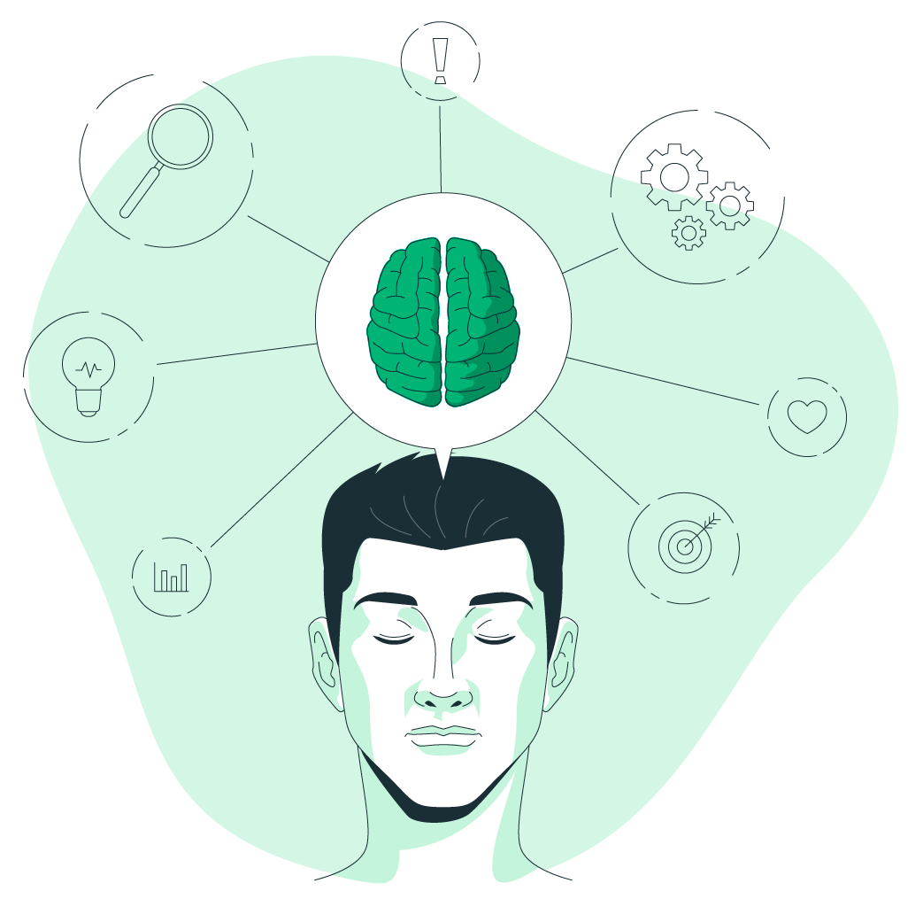 "Illustration of a person, a brain and other items representing ""Data and Intelligence"""